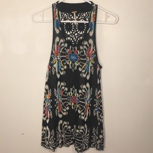 Free People Black Colorful Embroidered Boho Tank S